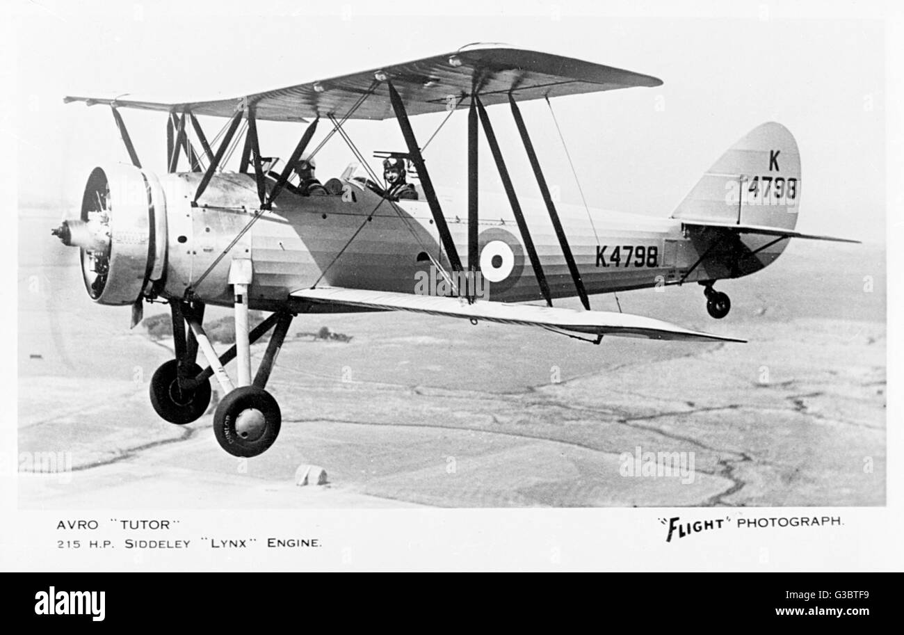 Avro 621 Tutor K4798 British two-seat biplane with a 215hp Siddeley Lynx engine.      Date: early 1930s - Stock Image