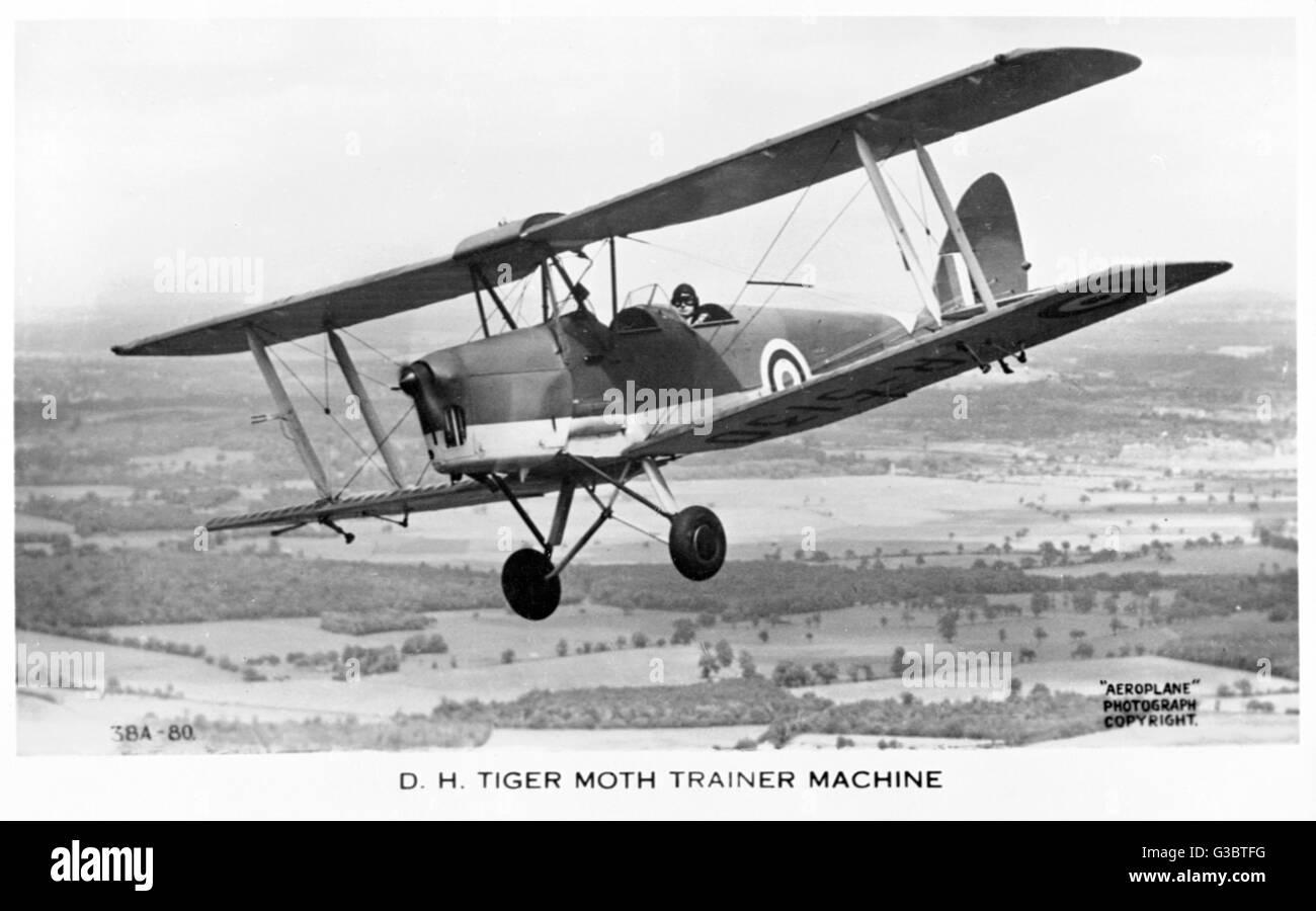 De Havilland Tiger Moth British trainer biplane.      Date: 1930s - Stock Image