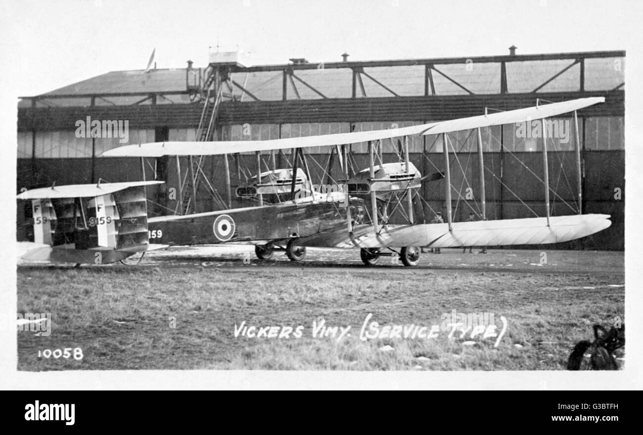 Vickers Vimy British F9159 heavy bomber biplane (service type), used during the First World War and later as a civil - Stock Image