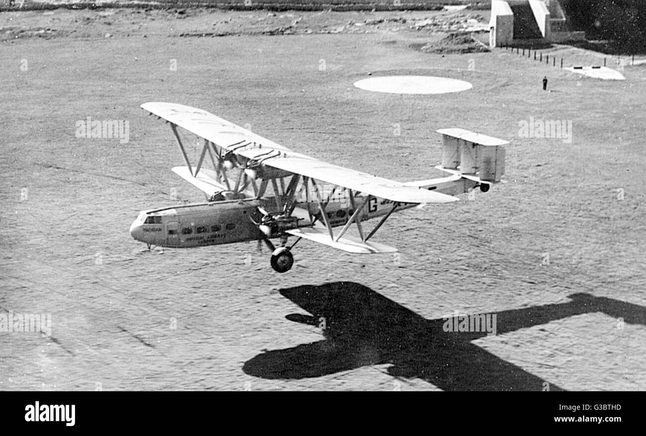 Imperial Airways passenger plane Hadrian, a Handley Page, leaving Malta for Cairo.      Date: circa 1932 - Stock Image