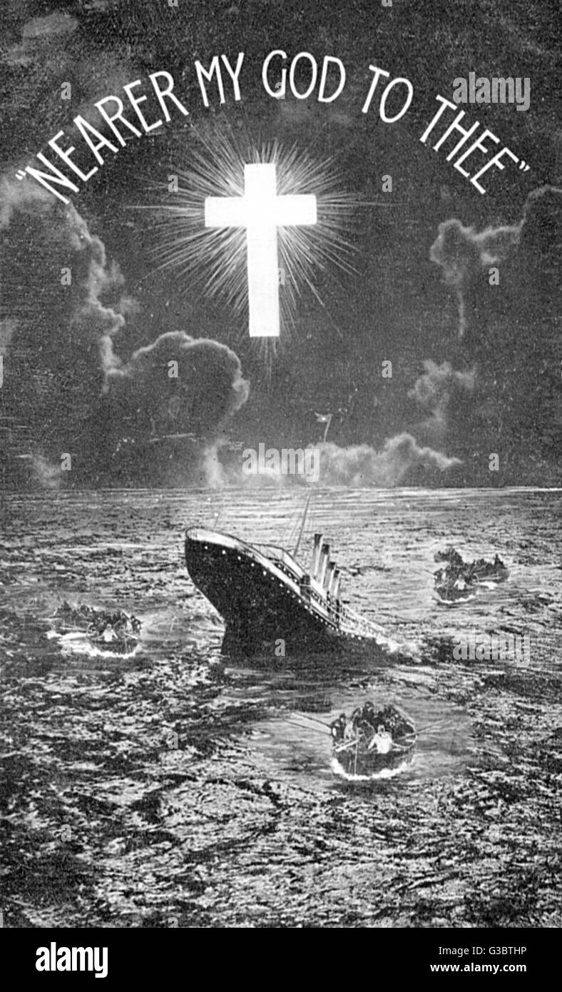 RMS Titanic, Nearer My God To Thee -- sinking after colliding with an iceberg.      Date: 1912 - Stock Image