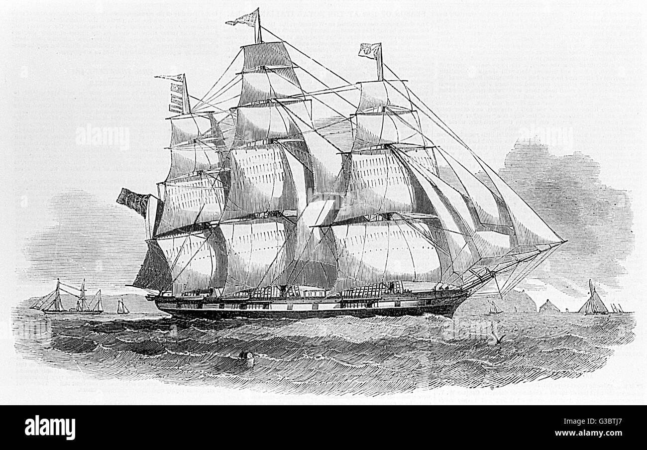 Australian White Star Line packet ship, the Ben Nevis.      Date: 1852 - Stock Image