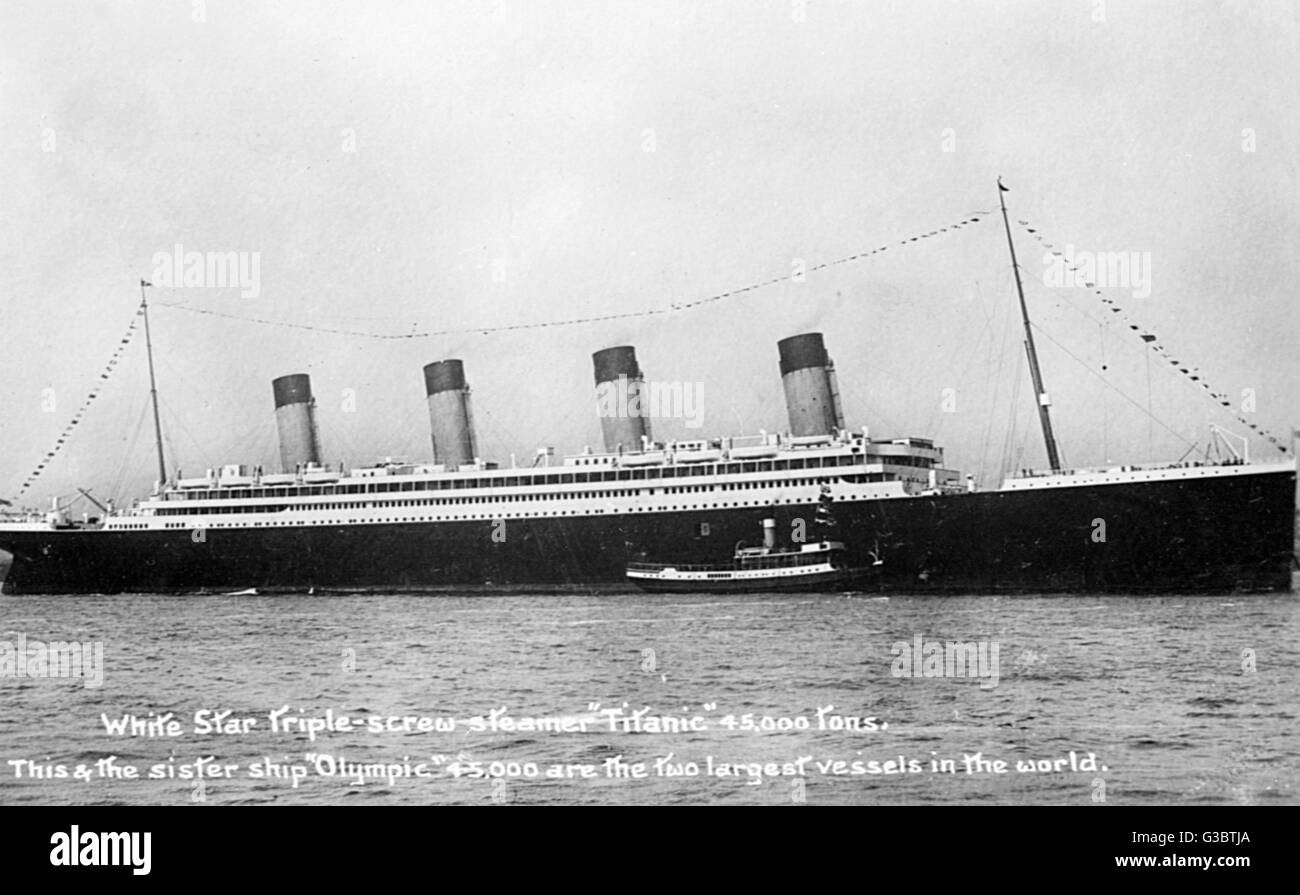 RMS Olympic, cruise ship of the White Star Line (incorrectly captioned as RMS Titanic on the picture itself).   - Stock Image