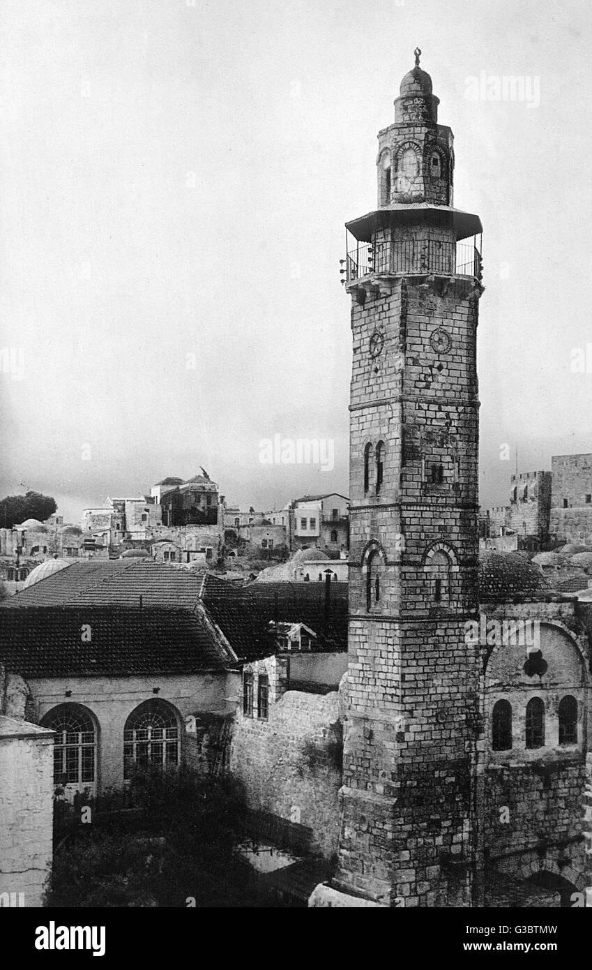 Minaret, Mosque of Omar, Jerusalem.      Date: 1920s - Stock Image