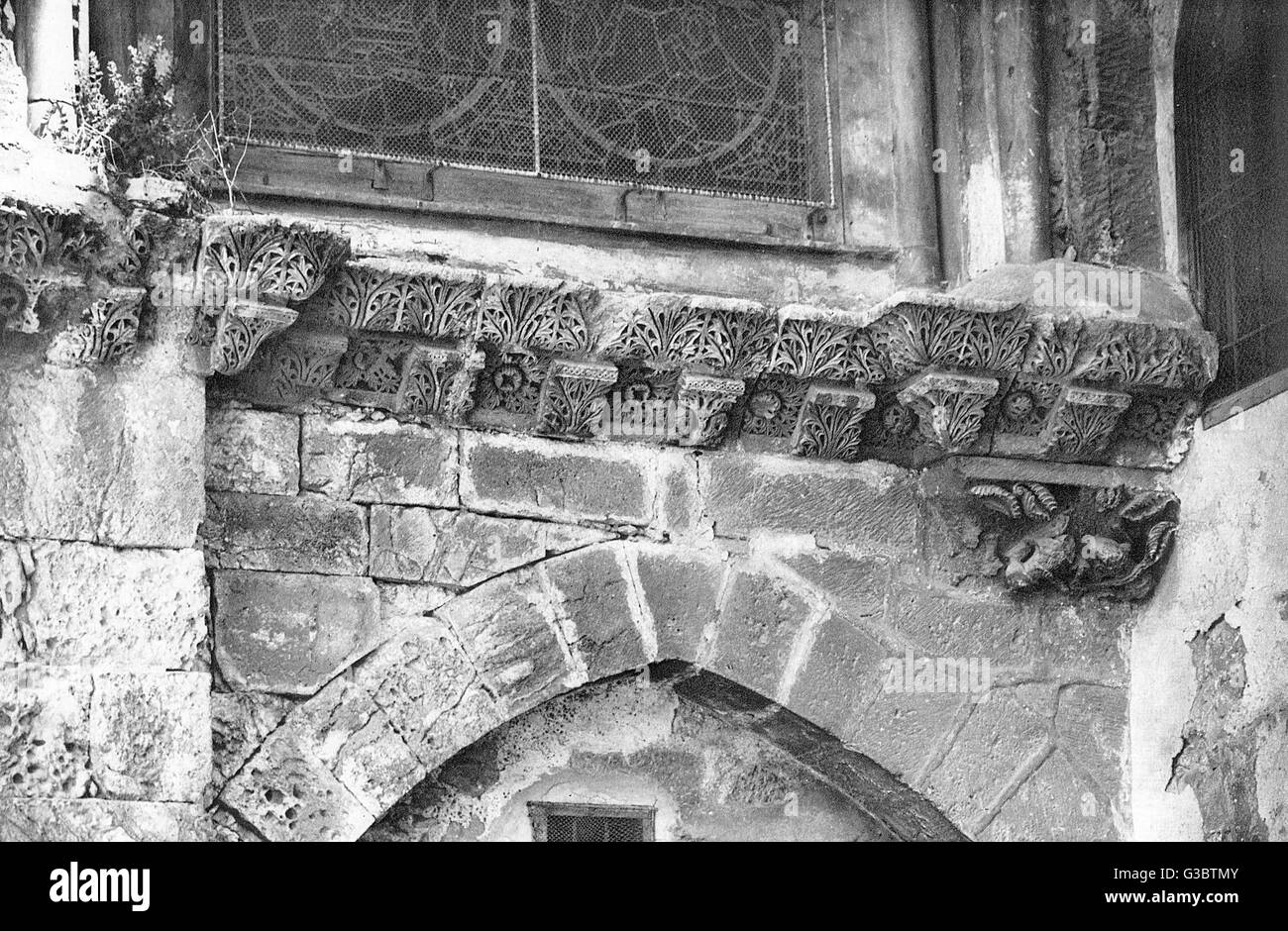 Detail of frieze, Chapel of the Agony of the Virgin in the courtyard of the Church of the Holy Sepulchre, Jerusalem. - Stock Image