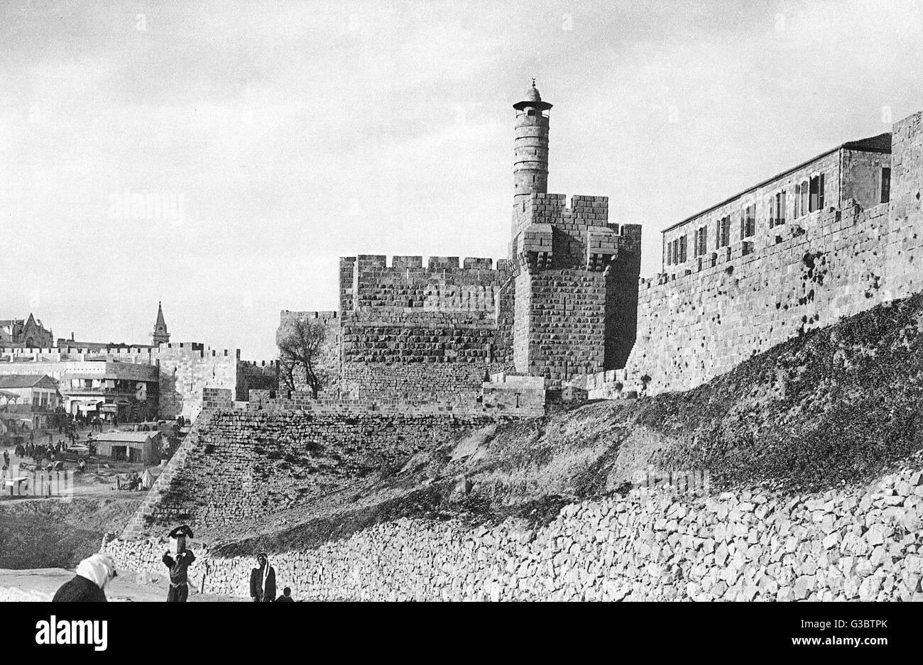 Citadel (Tower of David), Jerusalem.      Date: 1920s - Stock Image