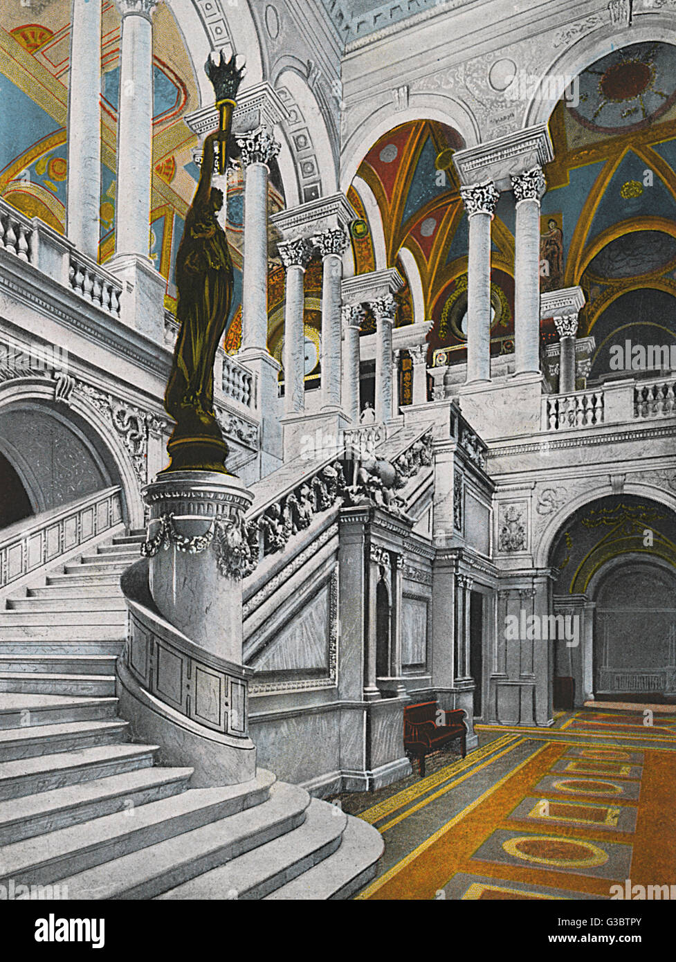 Washington DC, USA - Grand Stairway - Library of Congress entrance pavilion. The Bronze Torch Bearer by Philip H. - Stock Image