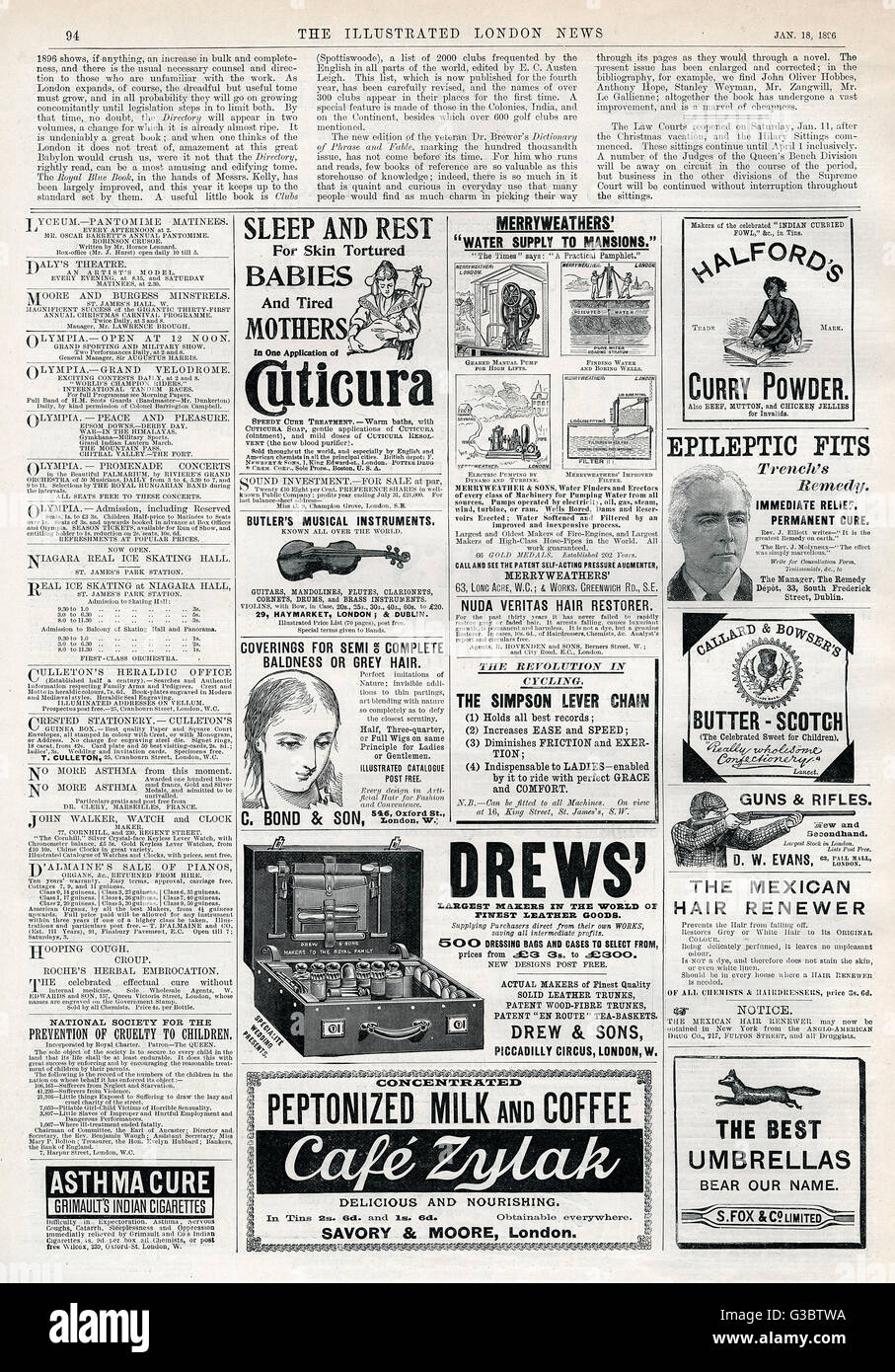 A page of advertisements from The Illustrated London News, 18th January 1896. Products promoted include Halford's - Stock Image