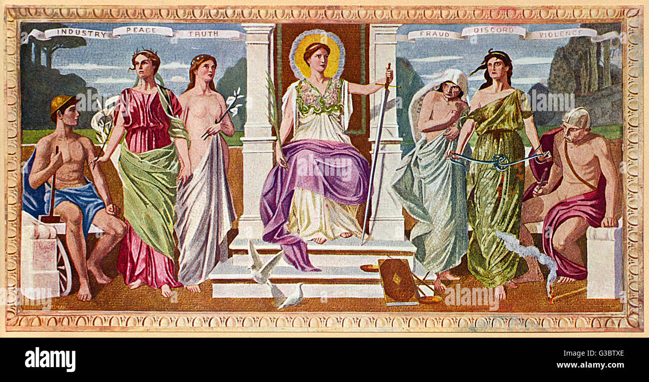Washington DC, USA - Mural - 'The Mosaic Panels' by Frederick Dielman (1847-1935). Found in the Library of Congress, Stock Photo