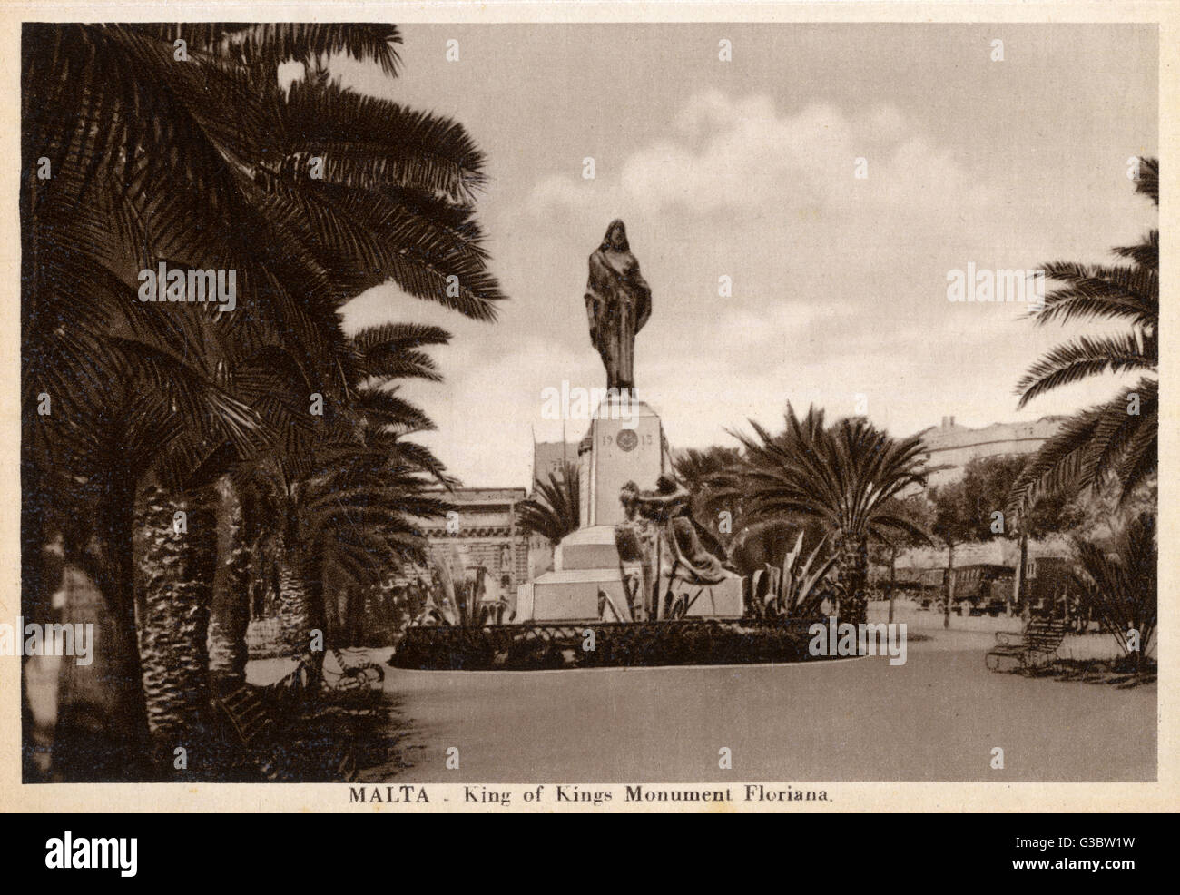 Malta - Floriana - King of Kings Monument     Date: circa 1920s - Stock Image