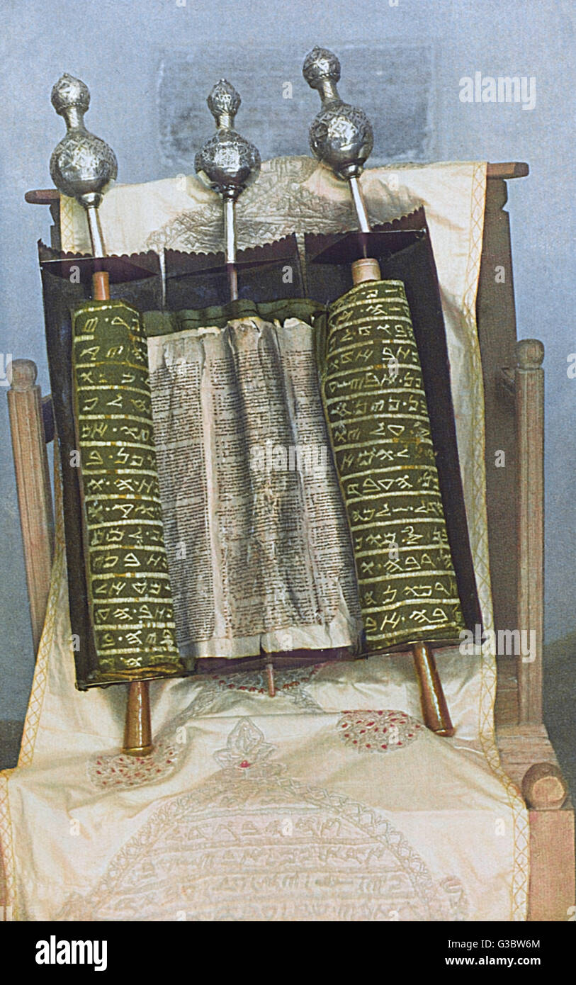 A Jewish Torah scroll.      Date: 1920s - Stock Image