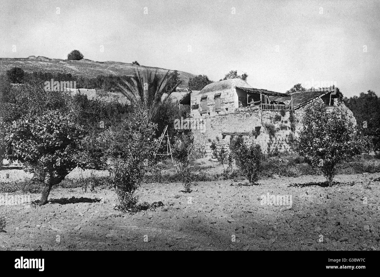 Scene at the foot of Tel Dothan, Holy Land.  The location is connected with two Old Testament events: the selling - Stock Image
