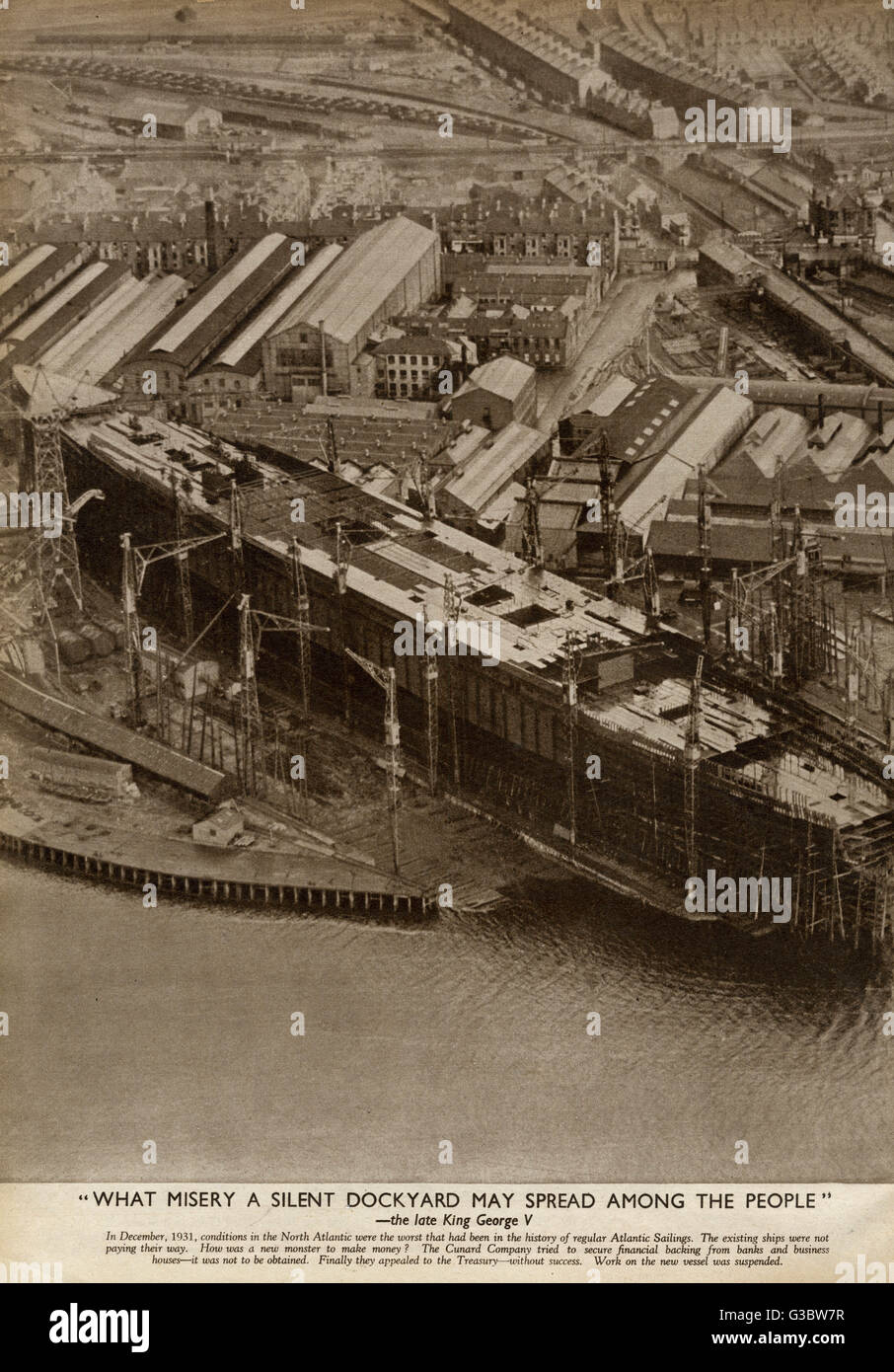 John Brown & Company in Clydebank in Scotland, begin the major task of constructing 'Queen Mary' - Stock Image
