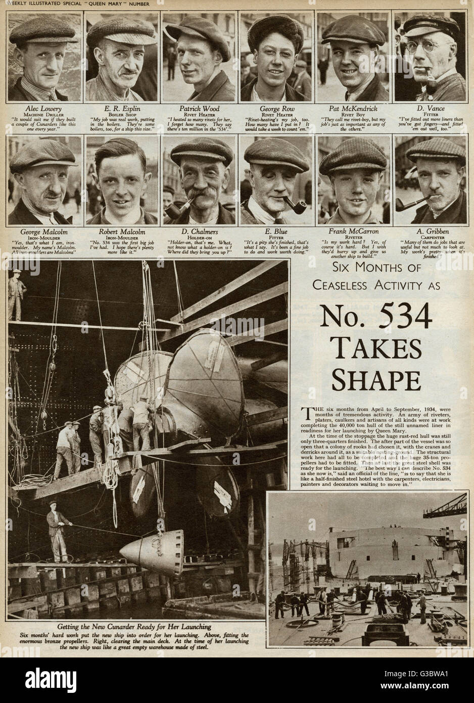 'Six months of ceaseless activity'.  The 'Queen Mary', then known as 'Hull Number 534', - Stock Image