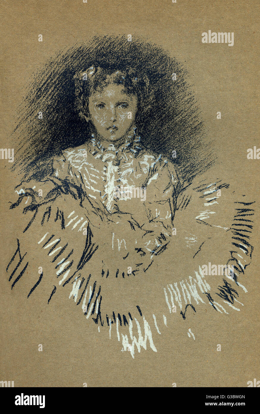 A pastel study for a portrait of 'Baby Leyland' by James Abbott McNeill Whistler (1834-1903).     Date: - Stock Image