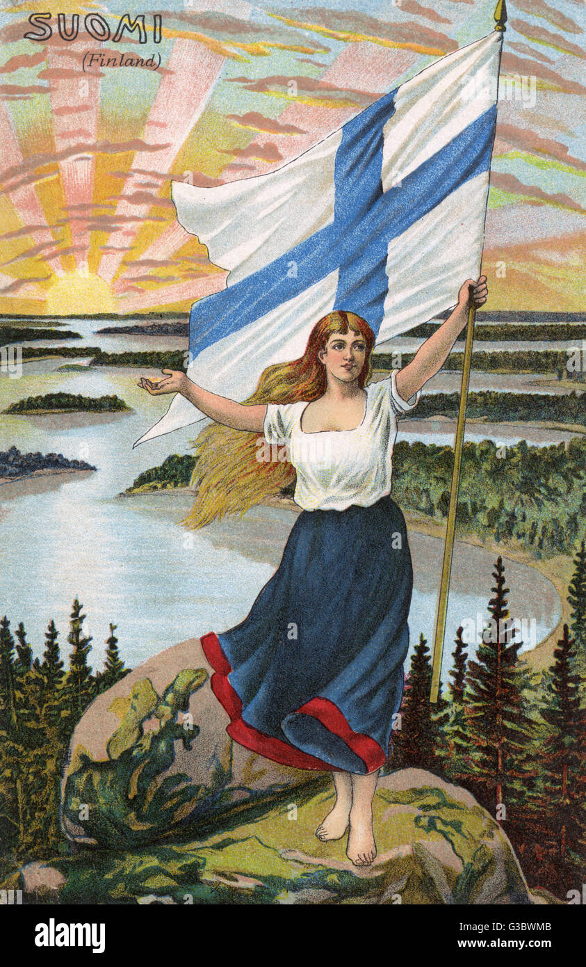 The Female Personification of Finland (Suomi), holding aloft the National Flag over the sun rising across the Finnish - Stock Image