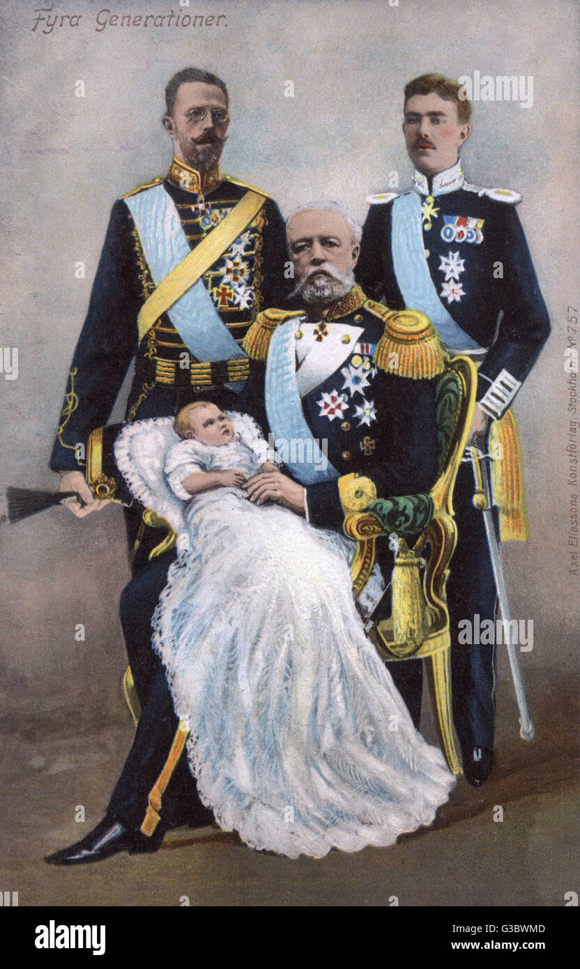 Four Generations of Swedish Royalty - (seated) King Oscar II (18291907) pictured with (back left) his son (the future - Stock Image