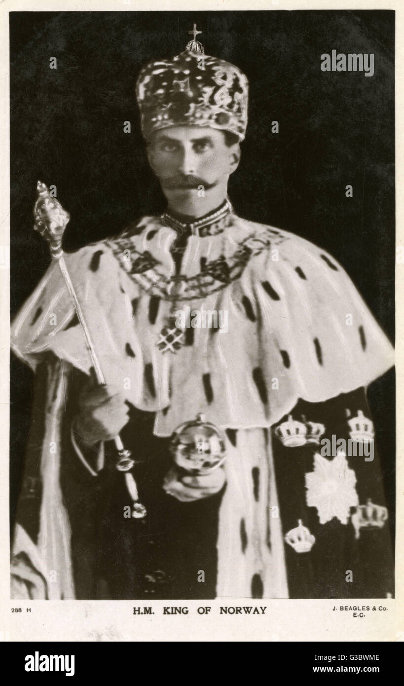 King Haakon VII of Denmark of the House of Oldenburg (1872-1957). Wearing his Coronation robes and holding the State - Stock Image