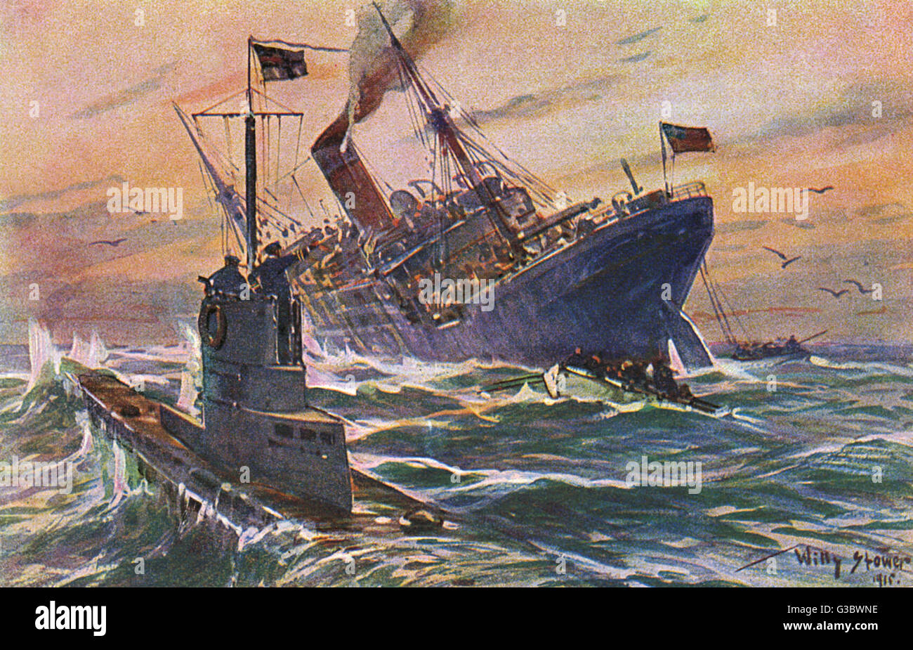 wwi german u-boat attack on an english commercial freighter  date: 1915 -
