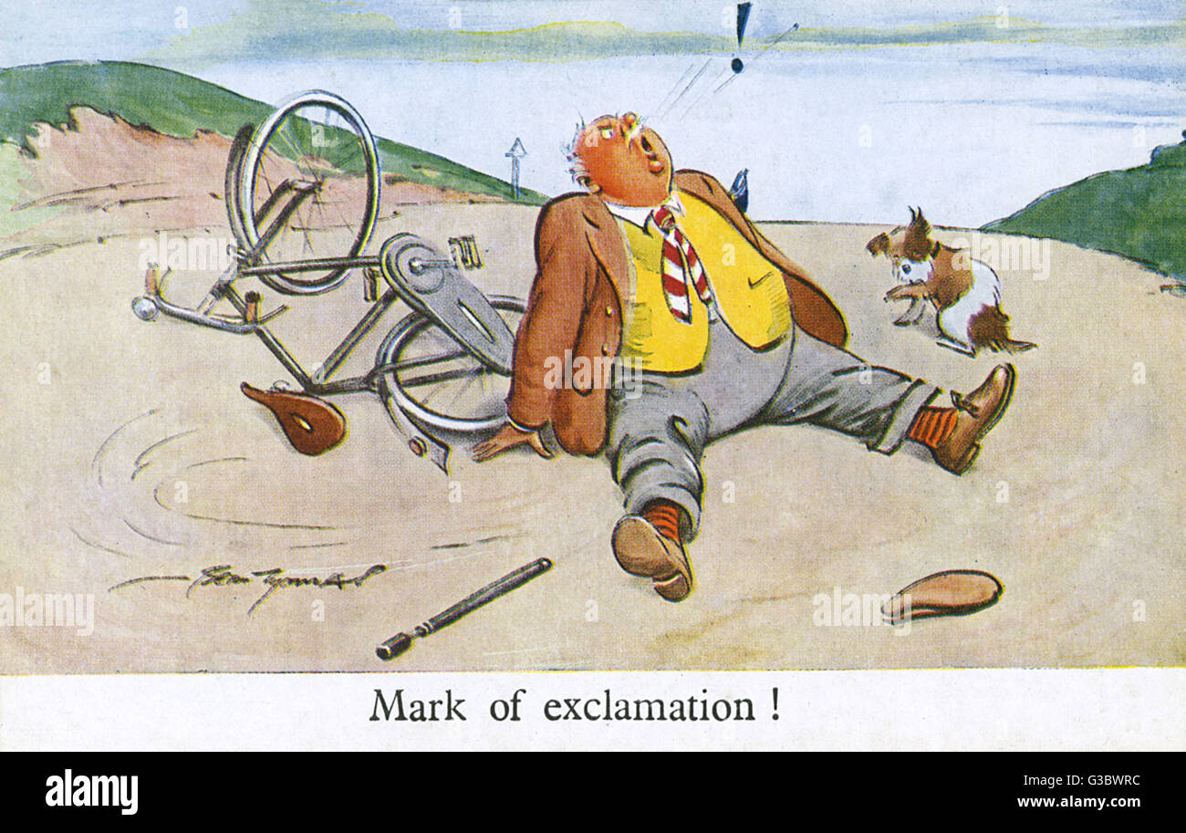 """Gentleman crashes on his bicycle and utters a loud... """"Mark of exclamation!""""     Date: circa 1940s Stock Photo"""