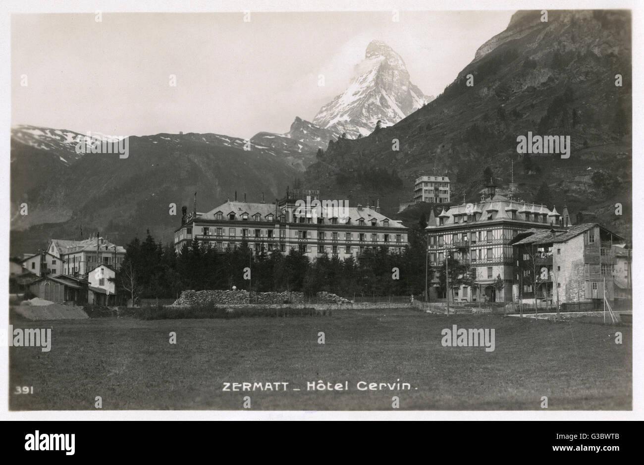 Zermatt - Hotel Cervin - Matterhorn visible in background     Date: 1920s - Stock Image