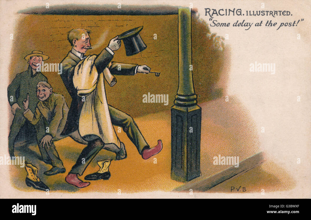 "Racing Illustrated - ""Some delay at the post!"" - a gentleman who has had a serious session at - Stock Image"