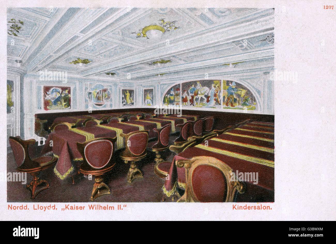Interior of the SS Kaiser Wilhelm II passenger steamer of Norddeutscher Lloyd (NDL) (North German Lloyd), a German Stock Photo