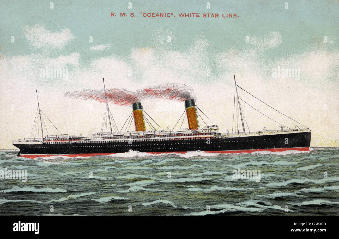 The RMS Oceanic One of the greatest White Star liners. She was the first ship built after Thomas Ismay bought the - Stock Image