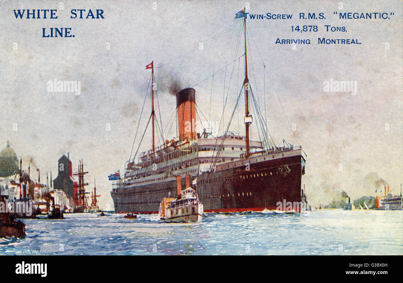 RMS Megantic - White Star Line - launched in 1908 - scrapped in 1933. The ship was attacked by a German U-boat during - Stock Image