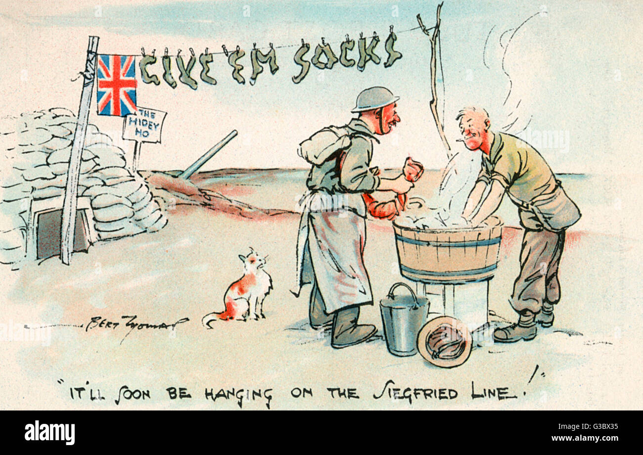 """WW2 humour - """"Two British soldiers doing their laundry comment that """"It'll soon be hanging - Stock Image"""