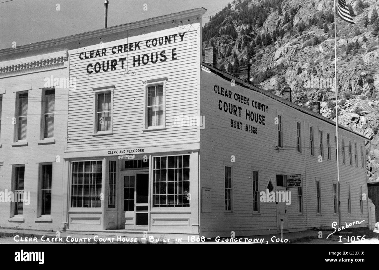 Clear Creek County Court House (built in 1868), Georgetown, Colorado, USA.      Date: 1940s - Stock Image