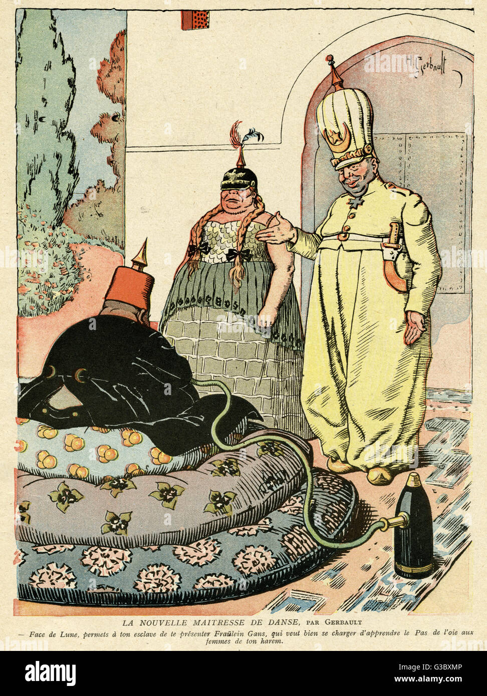 Cartoon, The New Dance Mistress, showing an Austro-Hungarian or German  officer in