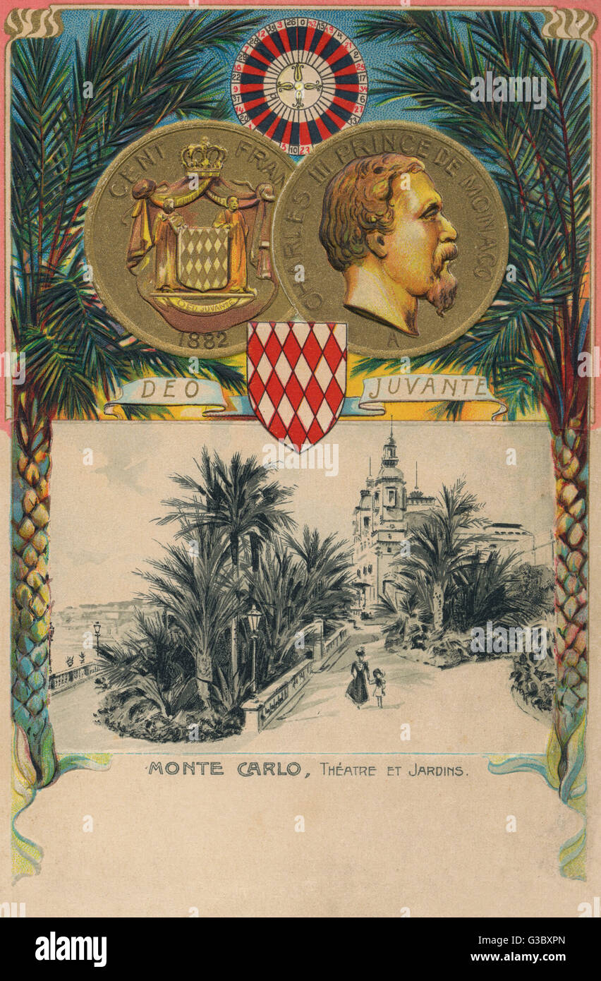 Monte Carlo, Monaco - Theatre and Gardens and an inset embossed 100 Franc coin, from 1882 bearing the profile portrait - Stock Image
