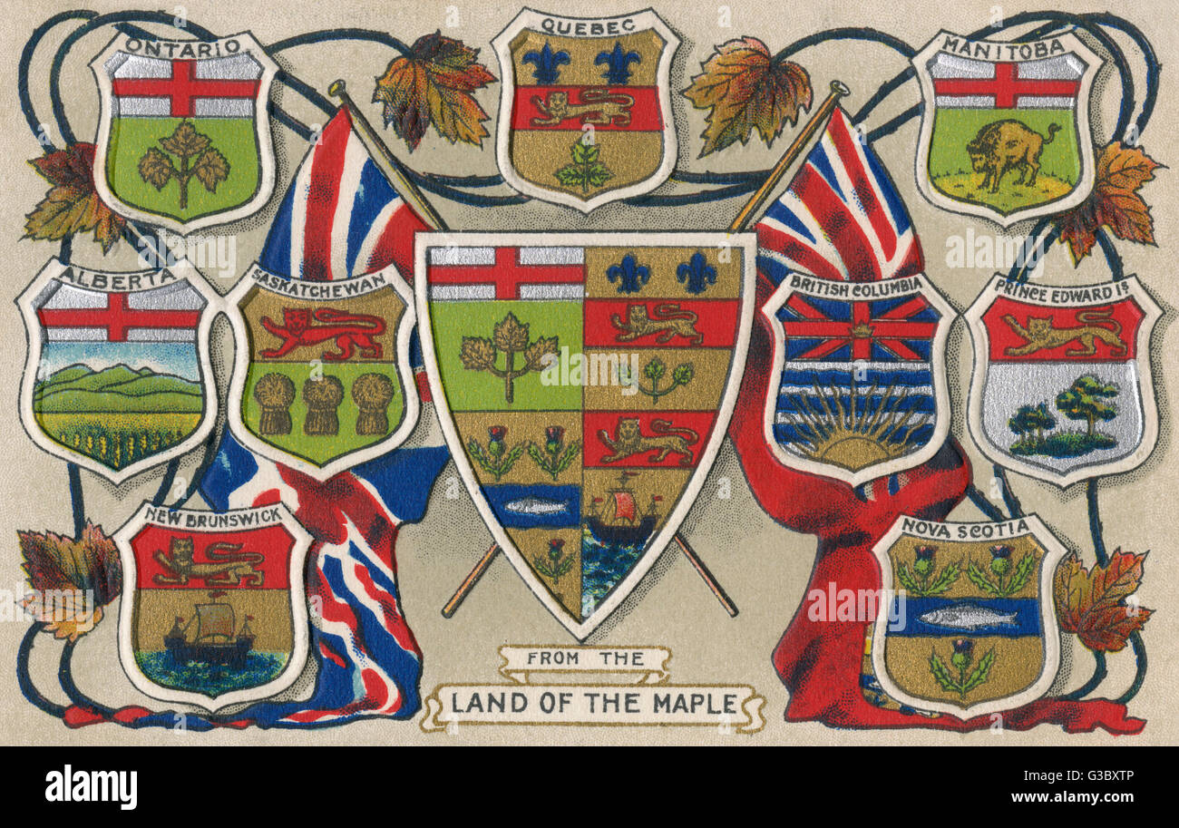 Heraldic Shields of the Provinces of Canada.     Date: circa 1907 - Stock Image