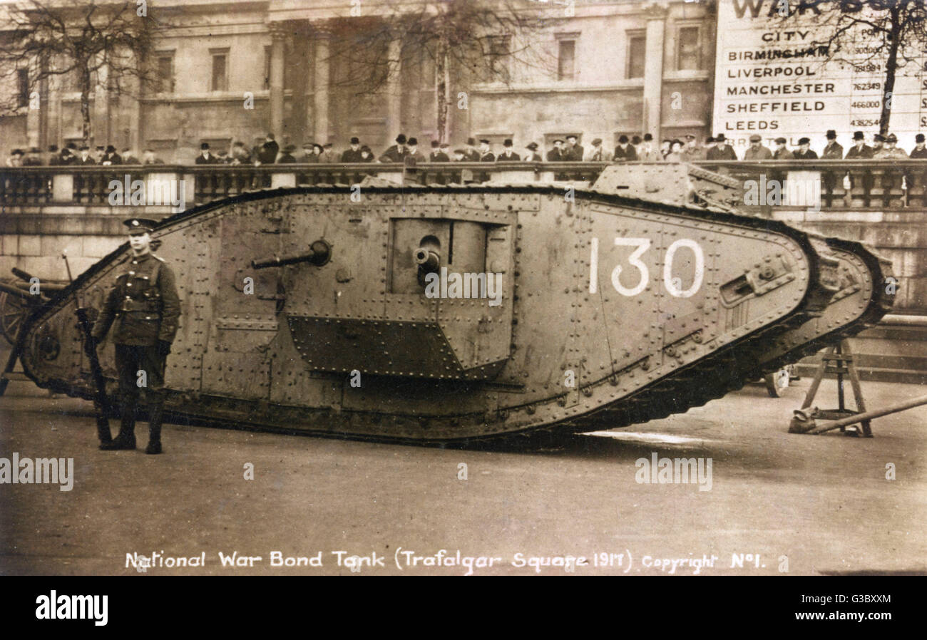 WW1 - Mk.1 Tank used in Trafagar Square to sell National War Bonds. The sign visible at rear details which British - Stock Image
