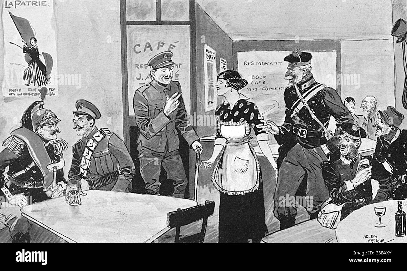 Inter-Allied Fraternisation - Paris Cafe - WW1. British Tommies chat to their French counterparts and colonial French - Stock Image