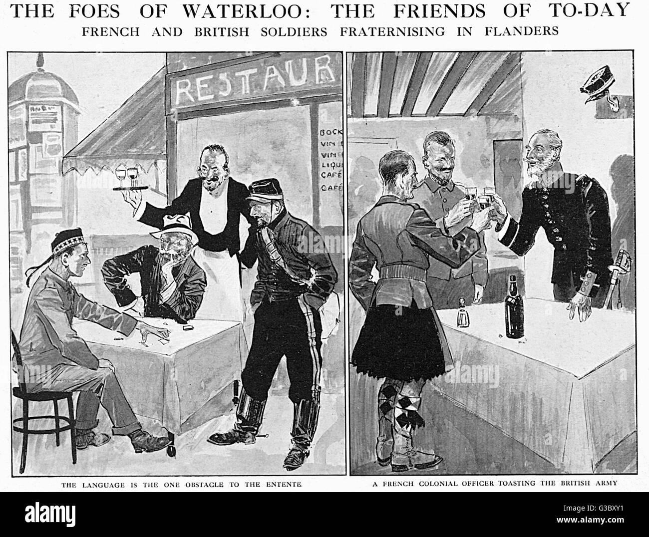 WW1 - Inter-Allied Fraternisation - The Friends of Today, not the Foes of Waterloo - British and French soldiers - Stock Image