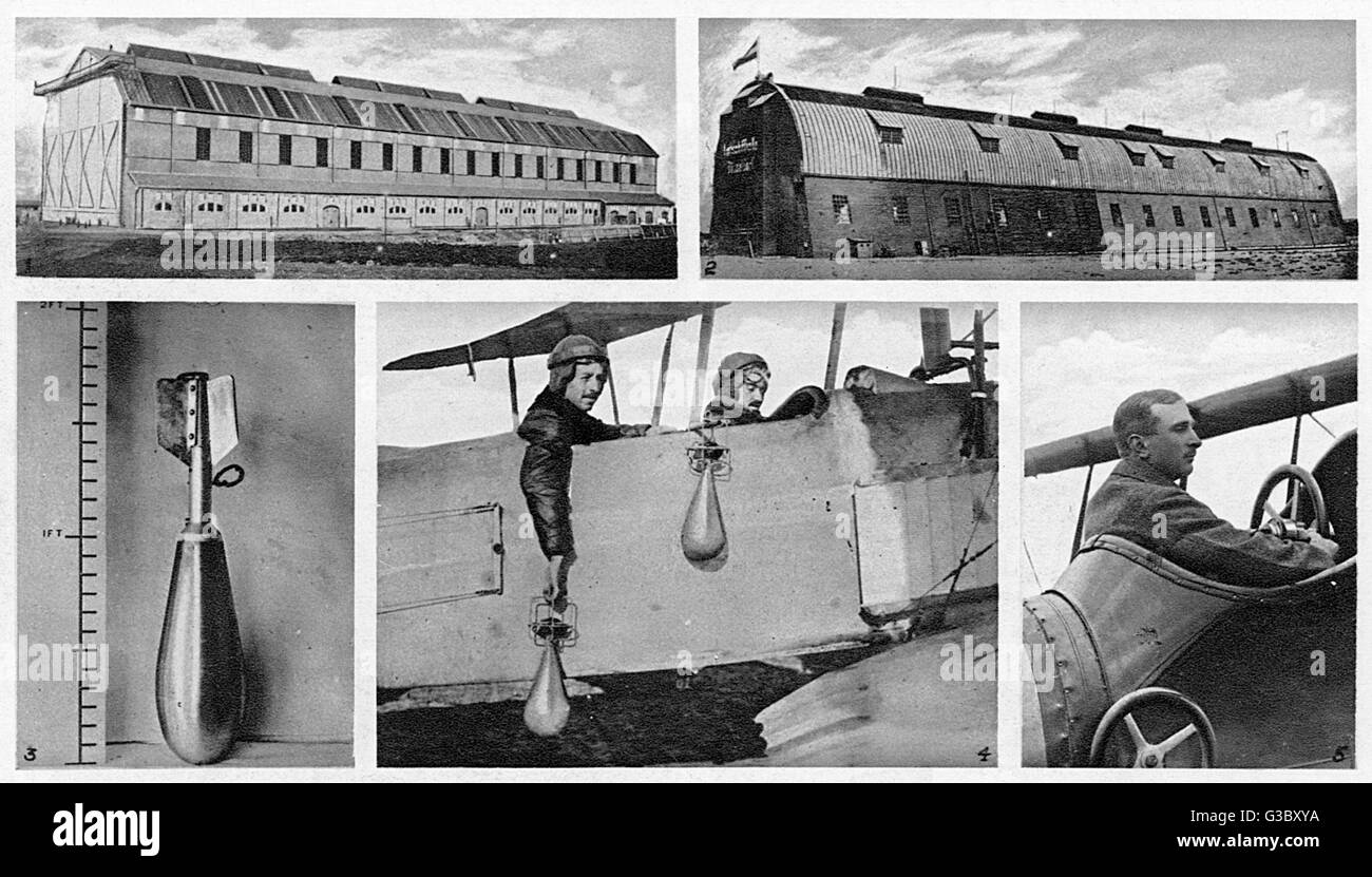 WW1 - Primitive Royal Air Force Bombers and their targets - the Zeppelin Sheds in Dusseldorf. The picture shows - Stock Image