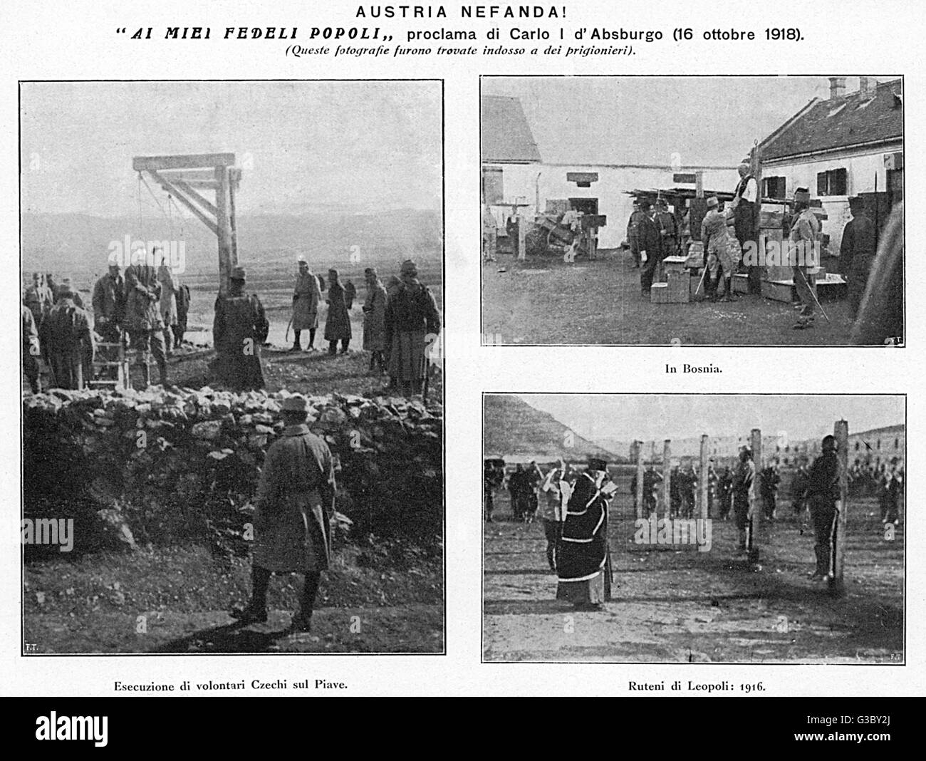 WW1 - Alleged Austrian Atrocities, including the execution of Czech volunteers, further hangings in Bosnia and  - Stock Image