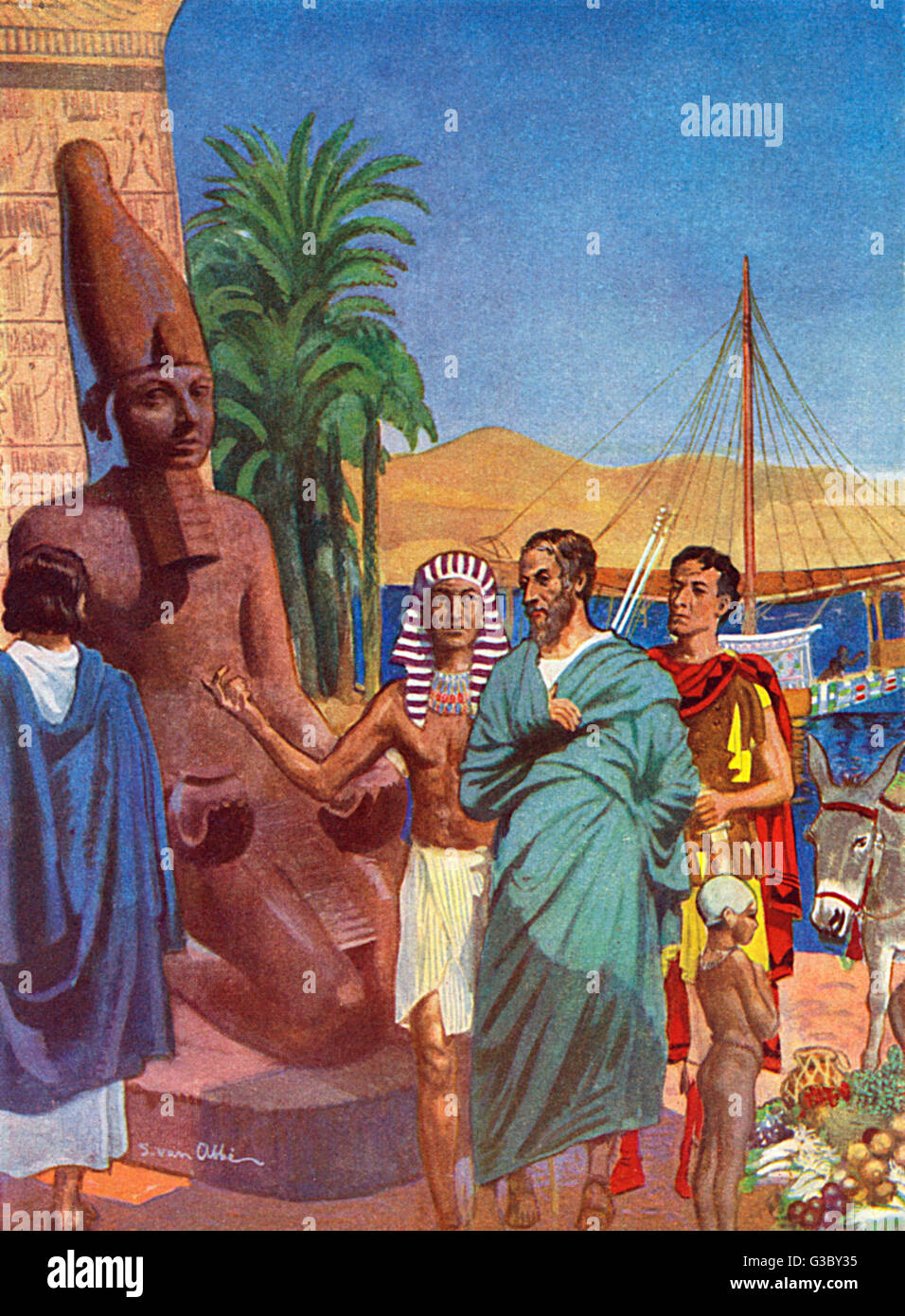 Herodotus - Ancient Greek Traveller and Historian - Visiting Aswan in Ancient Egypt. His eye-witness accounts indicate - Stock Image