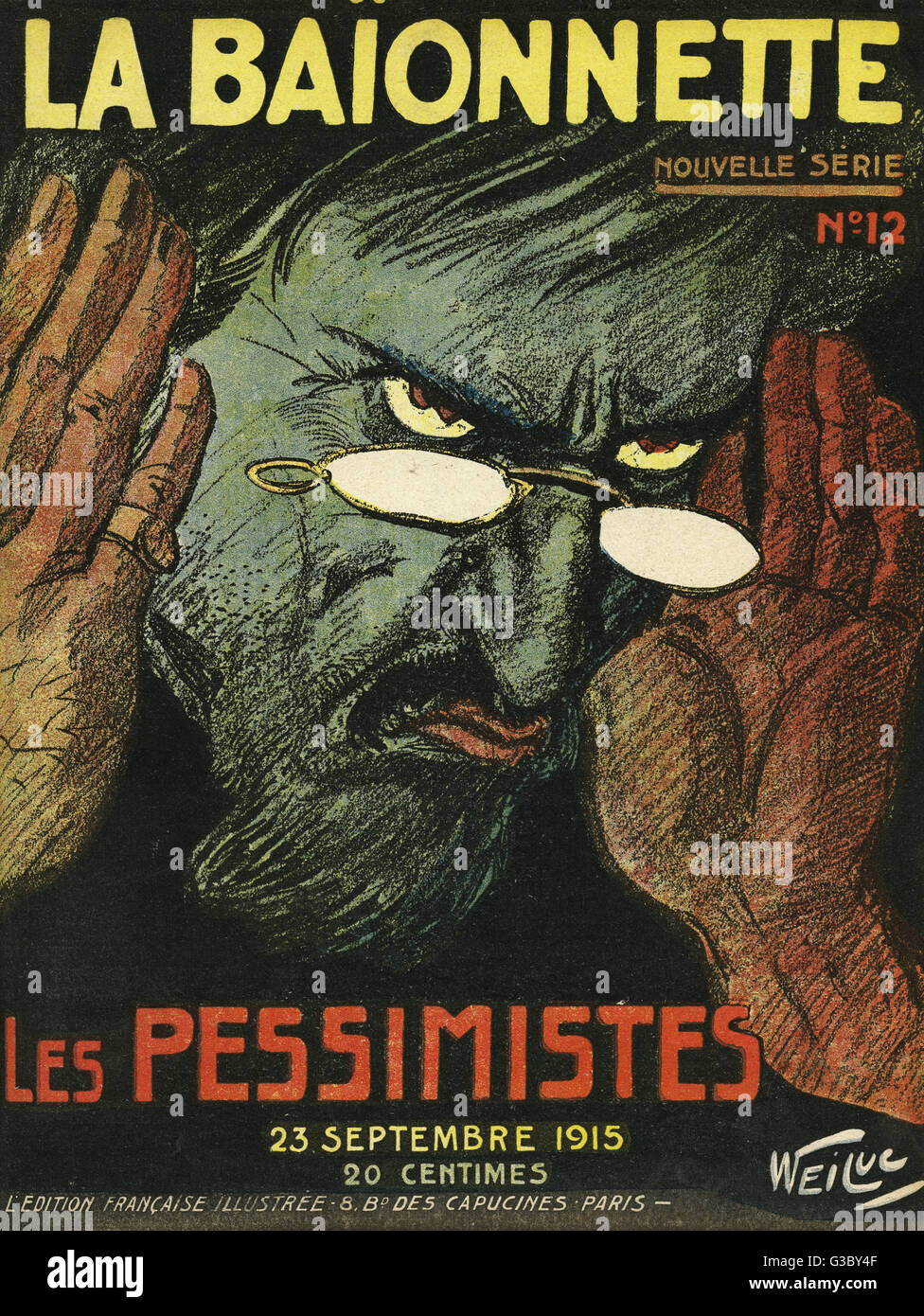 Front cover of La Baionnette, an issue focusing on pessimists, showing a gloomy man scowling and covering his ears - Stock Image