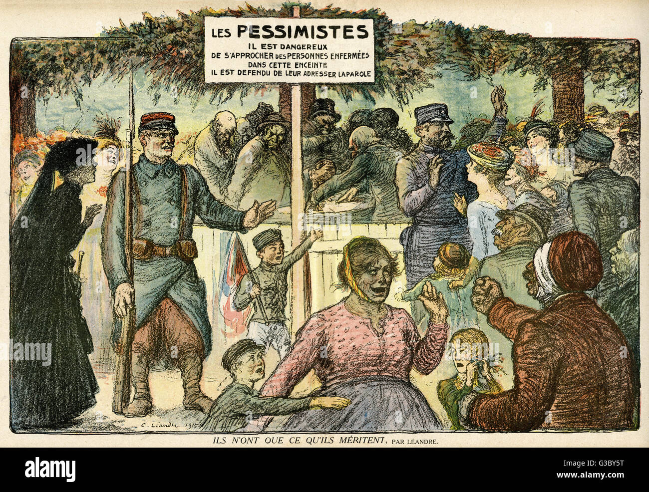 Cartoon, They get what they deserve, showing a group of pessimists, as if in a lunatic asylum, with a sign warning - Stock Image