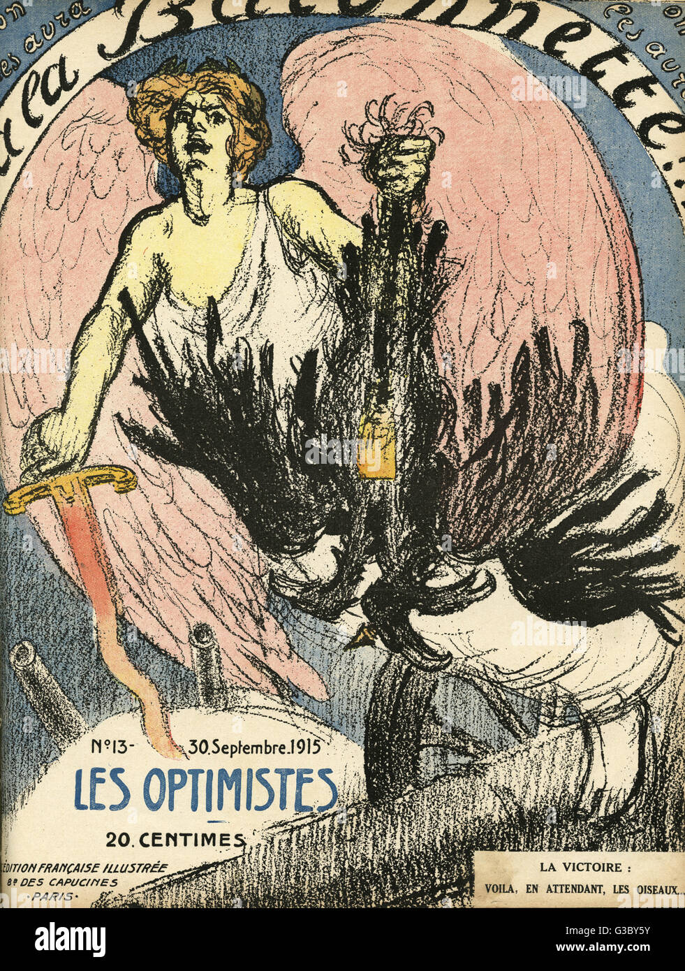 Front cover of La Baionnette, an issue focusing on optimists, showing a rather dubiously successful allegorical - Stock Image