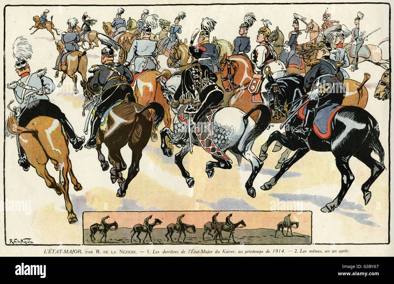 Cartoon, the German military staff, looking formidable on horseback, in the spring of 1914 and a year later.    - Stock Image