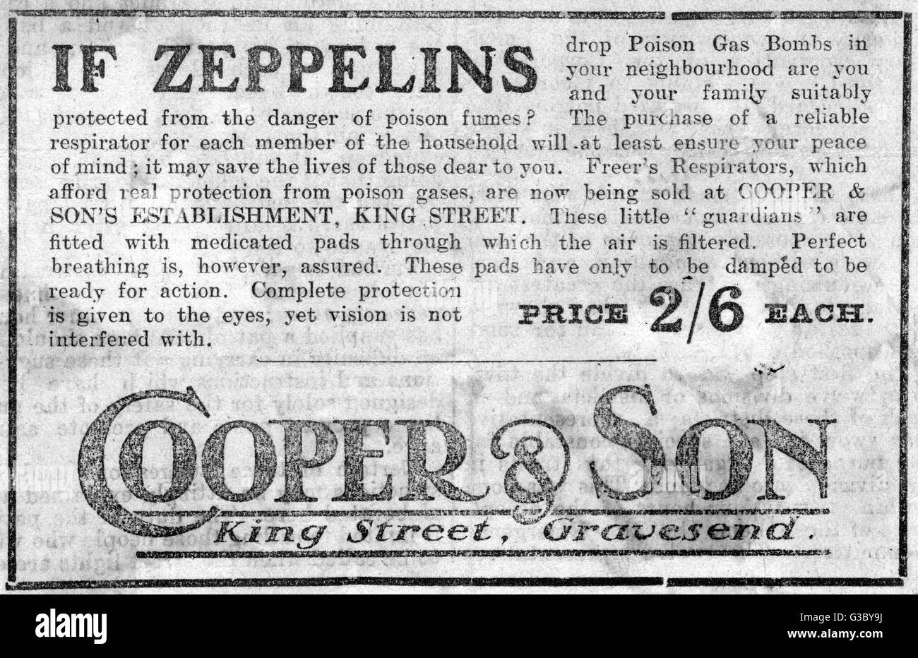 WW1 - Advertisement for Freer's Repirators from Cooper & Son of King Street, Gravesend, to counter the - Stock Image