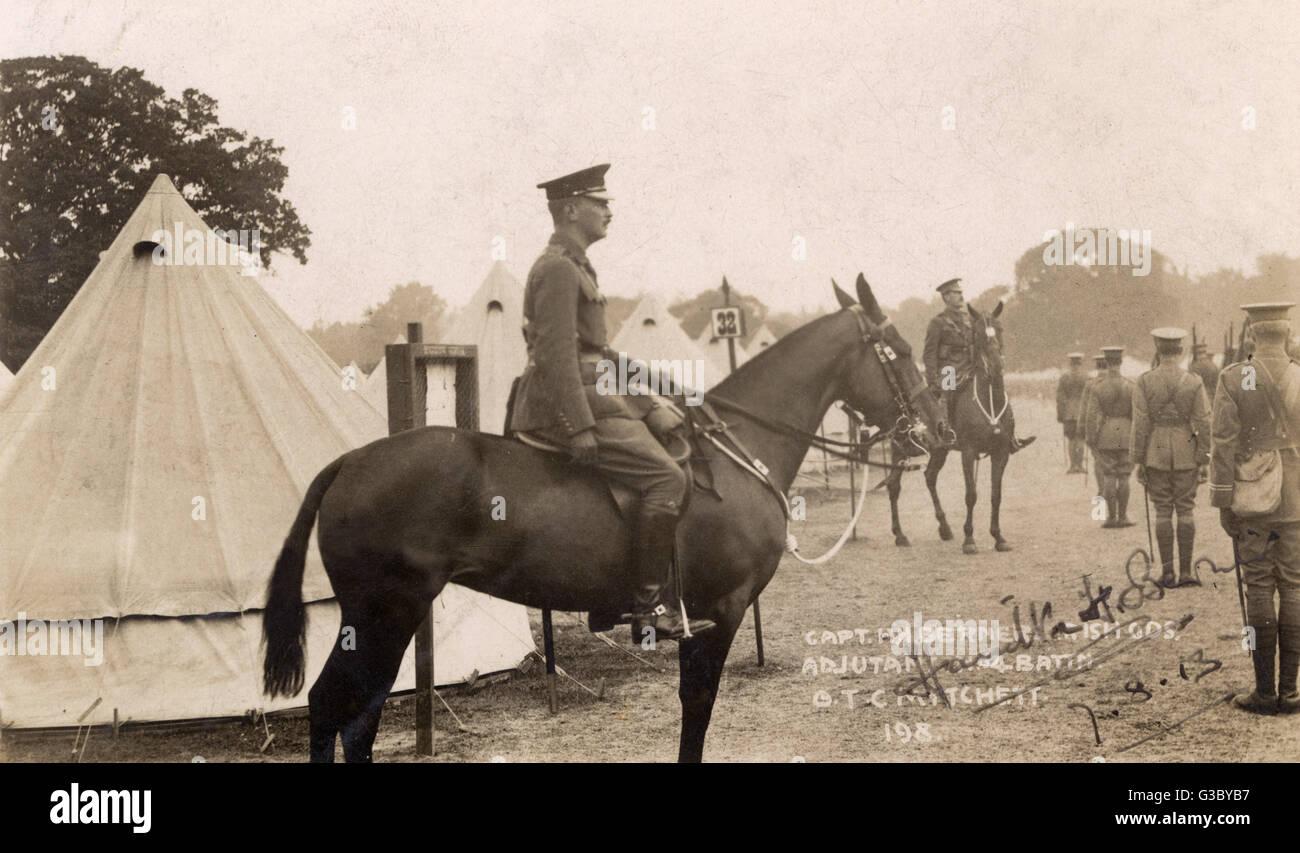 Captain Hamilton Hugh Berners, Irish Guards, seen here on horseback at the Officer Training Corps, Mytchett, Surrey. - Stock Image