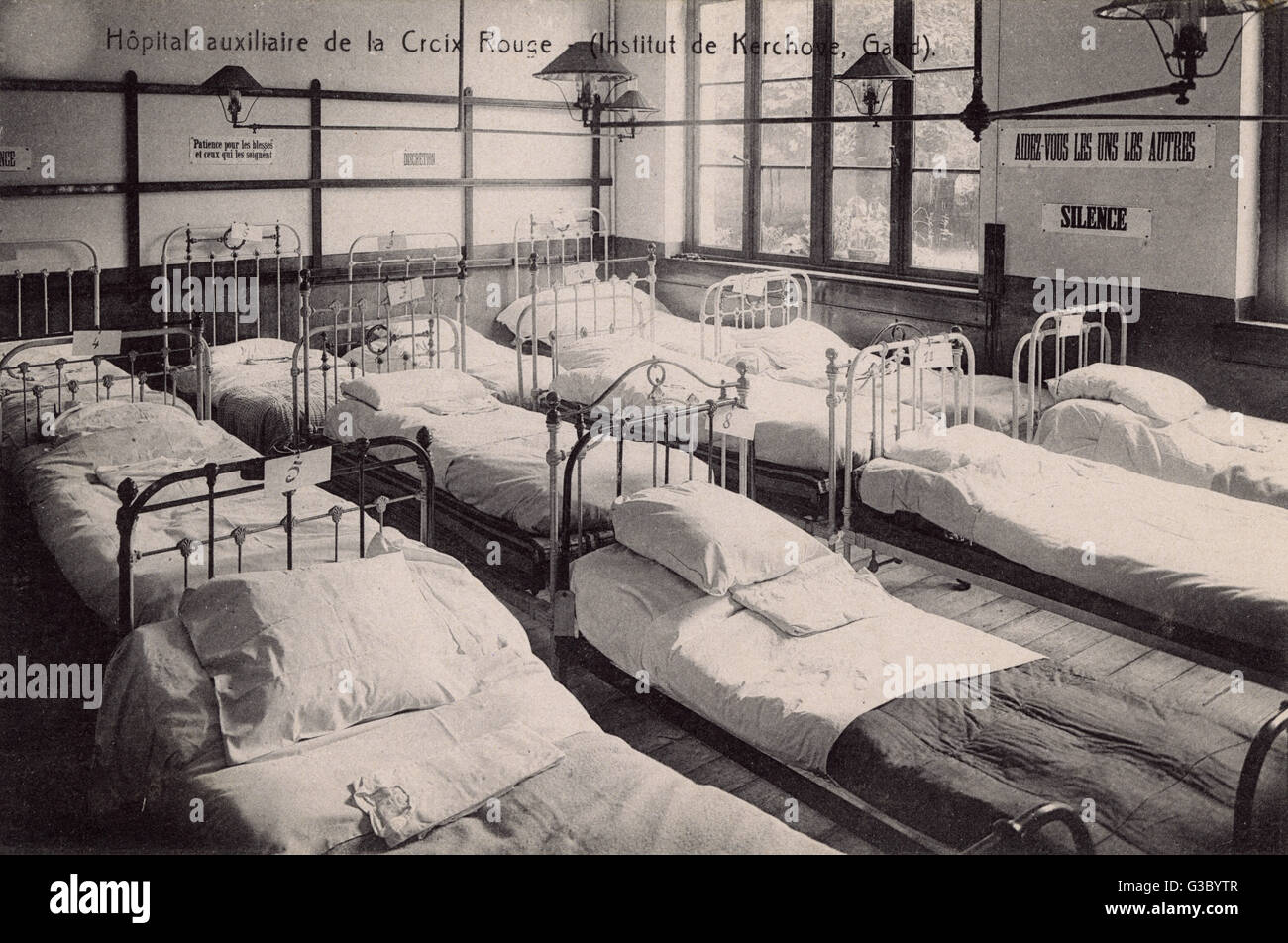 Scene inside the Auxiliary Red Cross hospital (Kerchove Institute), Ghent, Belgium, during the First World War. - Stock Image