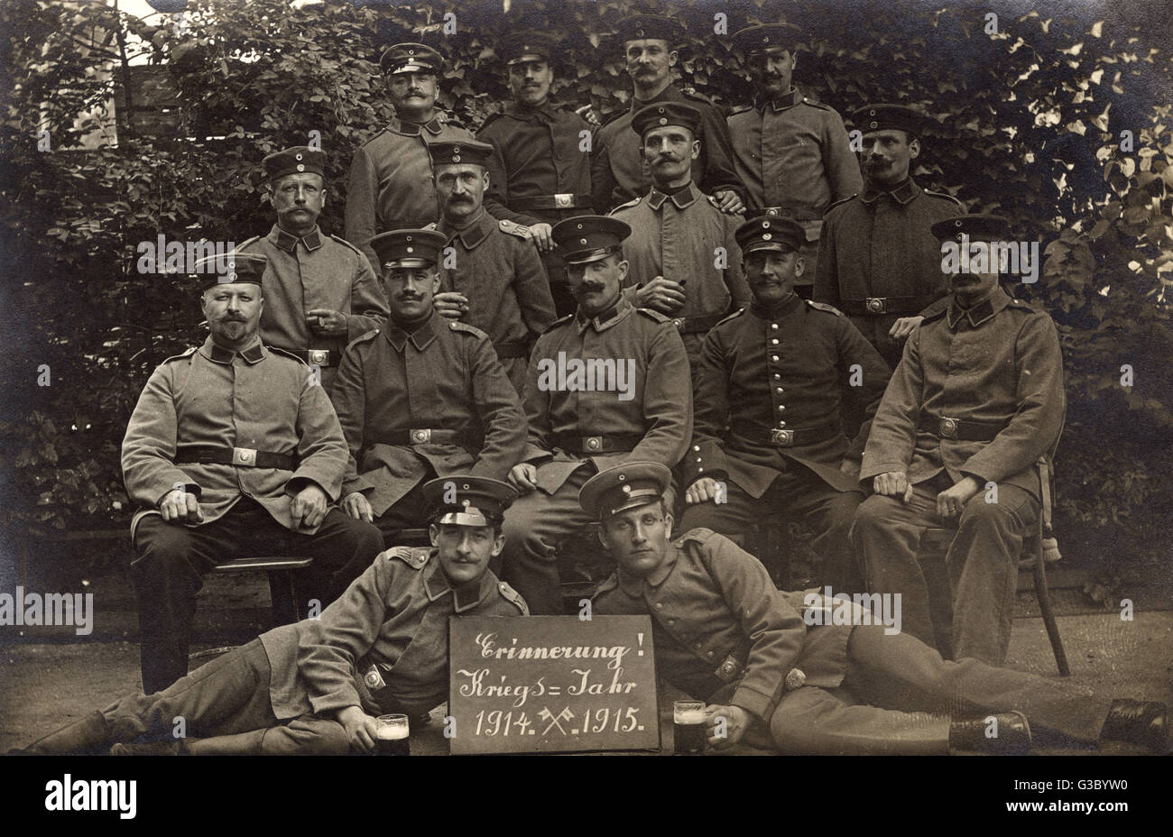 Group photo, men of the German 14th Regiment.      Date: 1915 - Stock Image