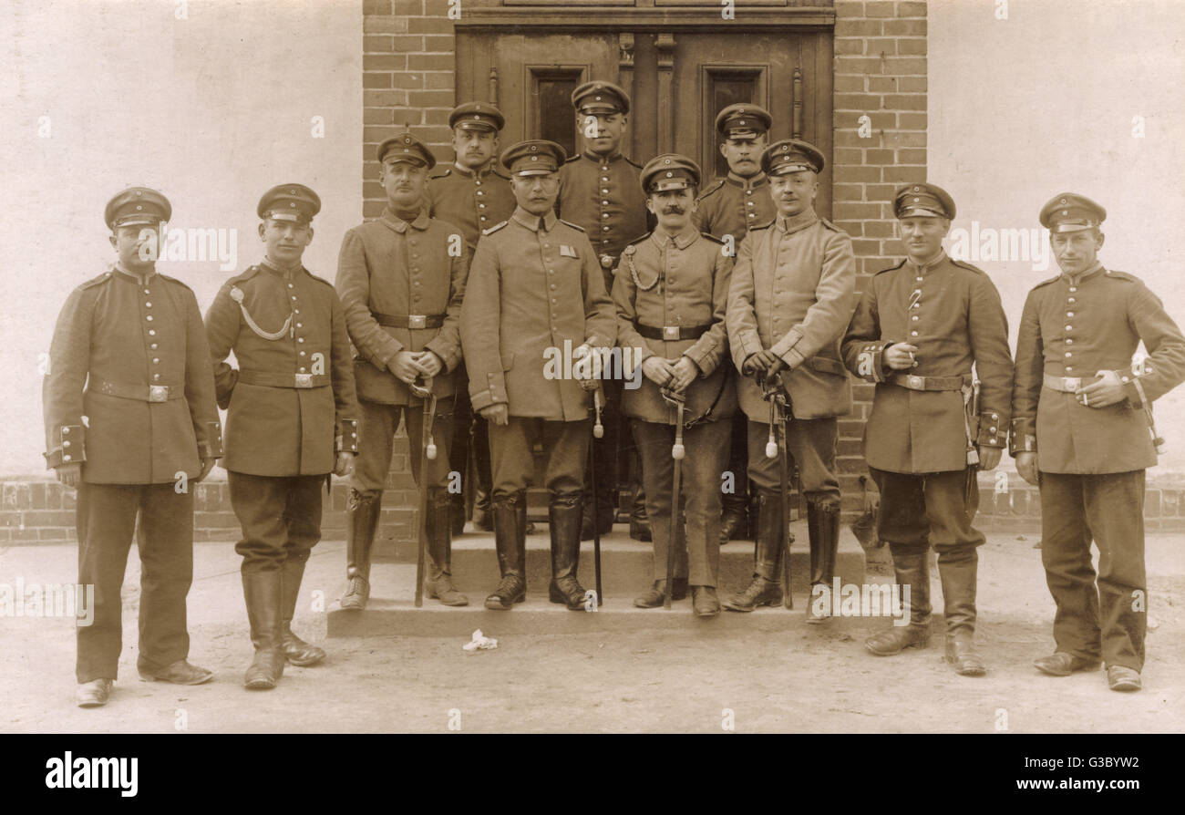 Group photo, soldiers at Warthelager military training camp, Posen (Poznan), Prussia, Germany.       Date: circa - Stock Image