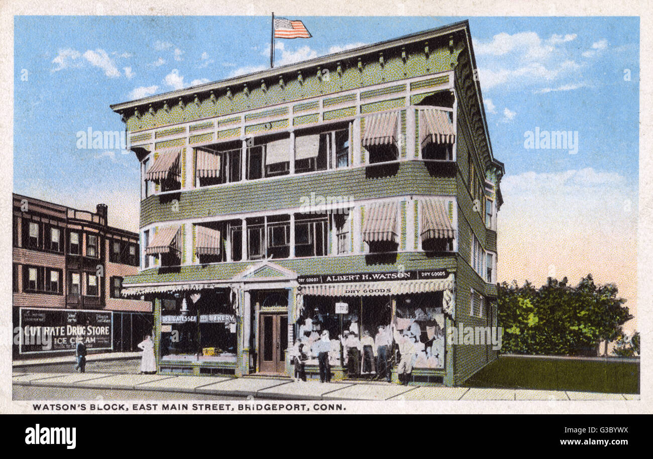 Watson's Block, East Main Street, Bridgeport, Connecticut, USA.      Date: 1916 - Stock Image